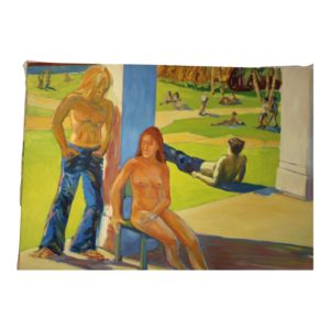 1970s-theater-park-scene-oil-painting-on-canvas-by-drew-bandish-5228