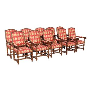 17th-century-european-style-red-floral-fabric-dining-chairs-set-of-10-0417