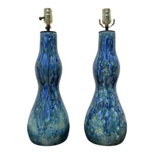 1960s Mid Century Blue Ceramic Lamps- A Pair