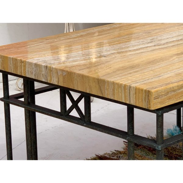 Designer Yellow Veneered Marble/Iron Coffee Table