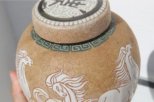 chinese-art-deco-prancing-horses-motif-porcelain-covered-jar-or-urn-8650