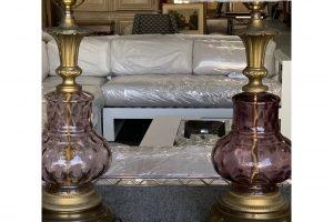 Venetian Purple Glass Lamps